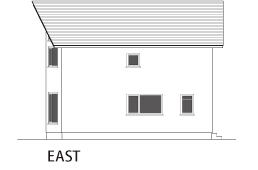 ヴァルト川中島の家:東向き