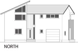 ヴァルト川中島の家:北向き