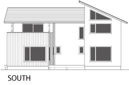 ヴァルト川中島の家:南向き