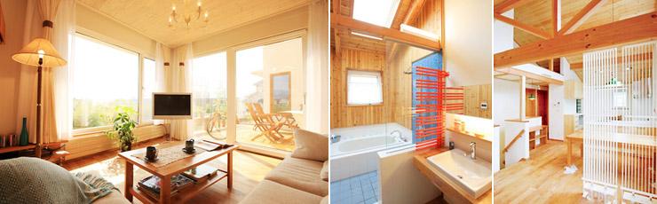 【左】大きな窓を配置したリビング【右】快適な空間づくりの演出にも役立つパネルヒーター