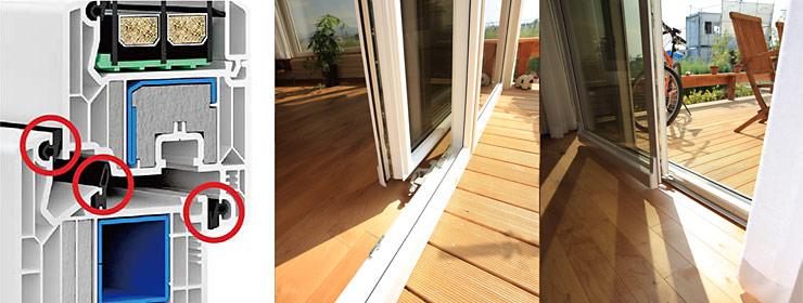 【左】WINDOW DPQ-82 THERMOの断面【右】DAKOのスライディングドア(サッシ)