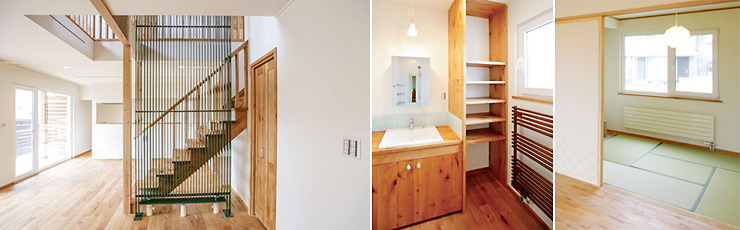 【左】階段室兼吹き抜けを利用しパネルヒーターを配置【右】多彩なバリエーションから選べるので和室の雰囲気も壊しません